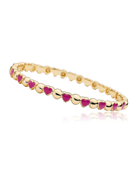 Girls' Heart 14k Gold Plated Brass Bangle, Red