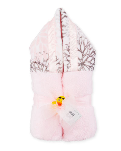 Blooms Hooded Towel, Pink