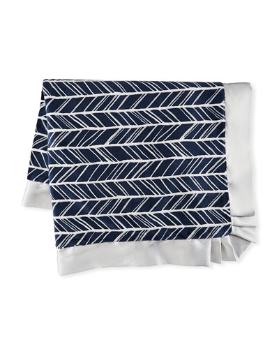 Herringbone Plush Receiving Blanket, Navy