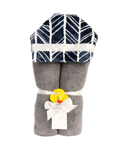 Herringbone Hooded Towel, Navy