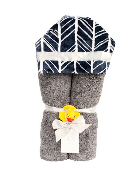 Herringbone Hooded Towel, Navy