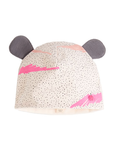 Wave-Print Baby Hat w/ Ears, Pink