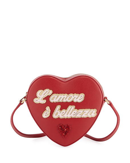 Dolce & Gabbana Girls' L'Amore Heart-Shaped Leather Crossbody