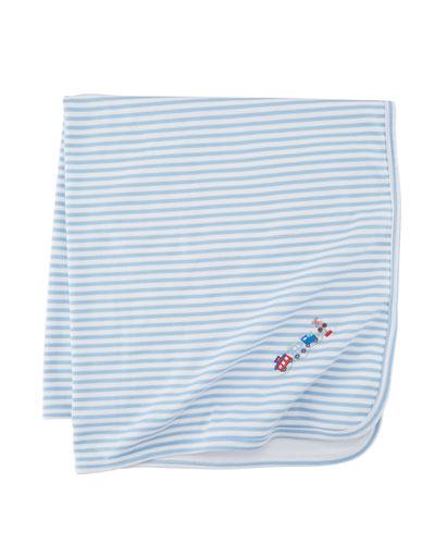 Little Railroad Striped Pima Baby Blanket