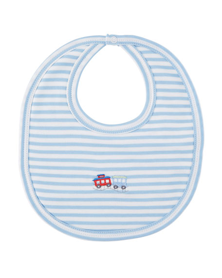 Little Railroad Striped Pima Bib