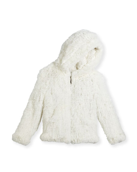 Adrienne Landau Hooded Zip-Front Rabbit Fur Jacket, Size