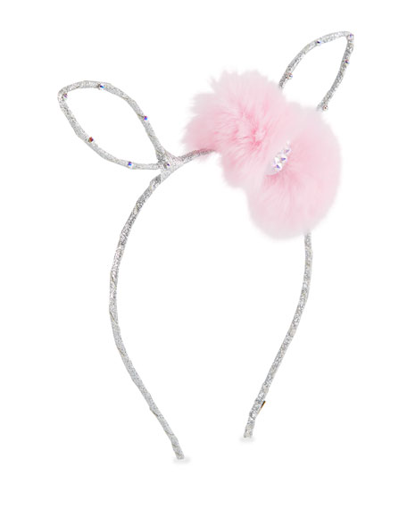 Girls' Bunny Ear Headband w/ Fur Bow