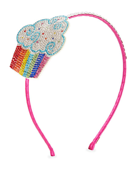 Bari Lynn Girls' Crystal Rainbow Cupcake Headband