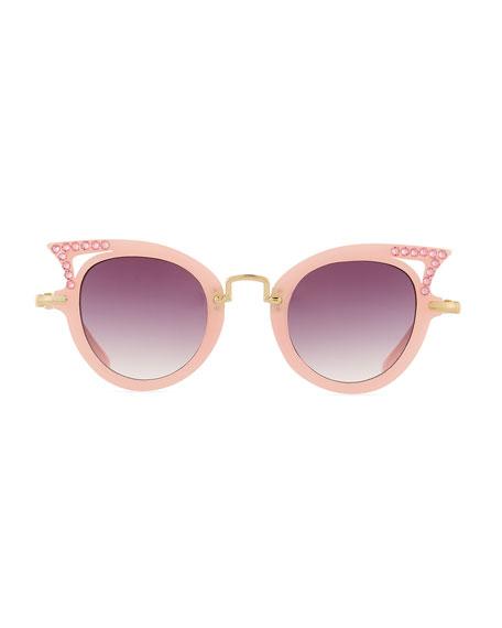 Girls' Cat-Eye Crystal Cutout Sunglasses