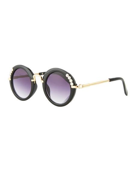 Bari Lynn Girls' Round Gradient Sunglasses w/ Simulated