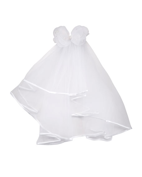 Bari Lynn Sheer Veil w/ Pearls on Bow