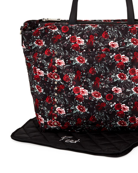 Logan Floral Nylon Diaper Tote Bag