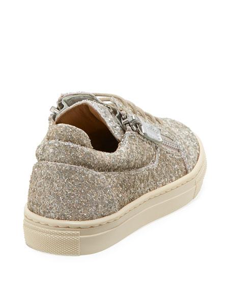 Glittered Low-Top Double Zip Sneakers, Toddler/Kid