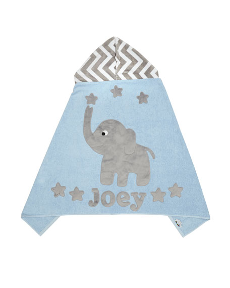 Personalized Big Foot Elephant Hooded Towel, Gray