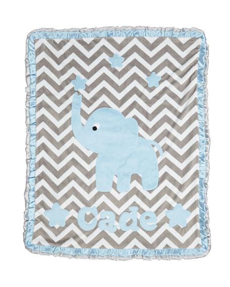 Personalized Big Foot Elephant Plush Blanket, Gray