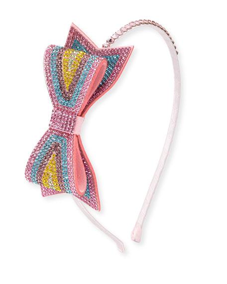 Girls' Pastel Crystal Bow Headband