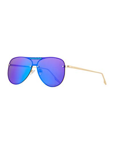 Girls' Rainbow Mirrored Aviator Sunglasses