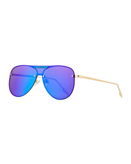 Bari Lynn Girls' Rainbow Mirrored Aviator Sunglasses
