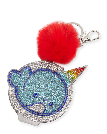 Bari Lynn Girls' Crystal Narwhal Mirror Key Chain
