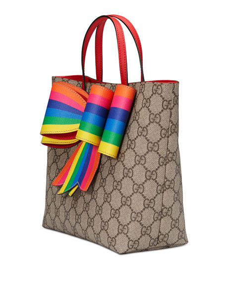 GG Supreme Canvas Tote Bag w/ Rainbow Bow