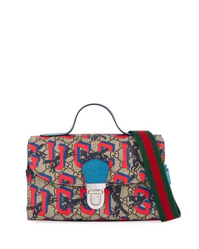 Kids' Wolves-Print GG Supreme Top-Handle Flap Bag