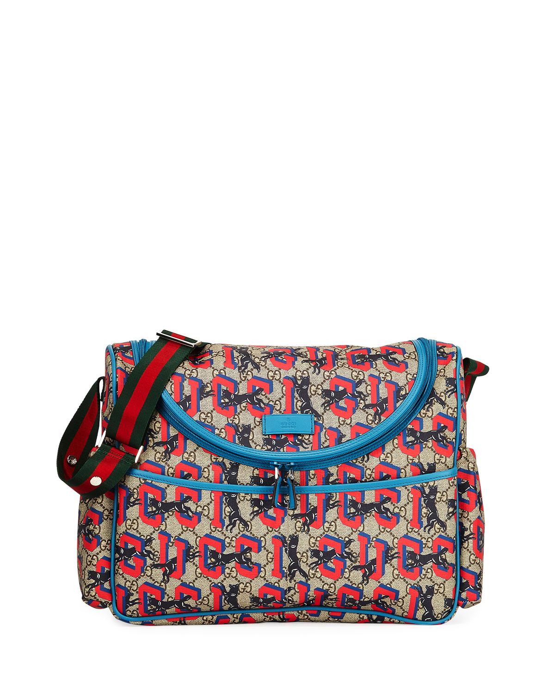 7347eb62727 Gucci GG Supreme Wolf-Print Diaper Bag