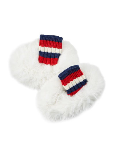 Faux-Fur Reversible Sylvie Web Baby Booties