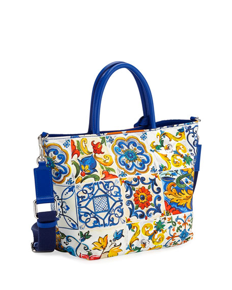Canvas Maiolica-Print Shoulder Bag