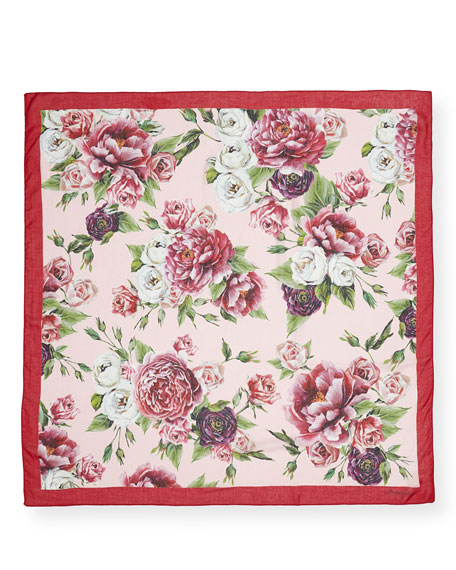 Girls' Peonies Modal-Cashmere Scarf