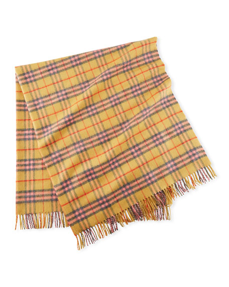 Cashmere Vintage Check Baby Blanket, Golden Peach