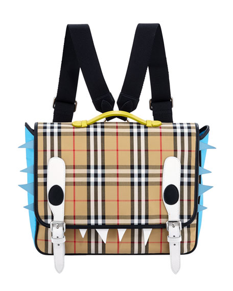 Burberry Kids' Spike Canvas Check Backpack