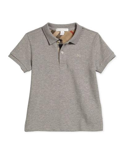 Short-Sleeve Pique Polo Shirt, Pale Gray Melange, Size 4-14