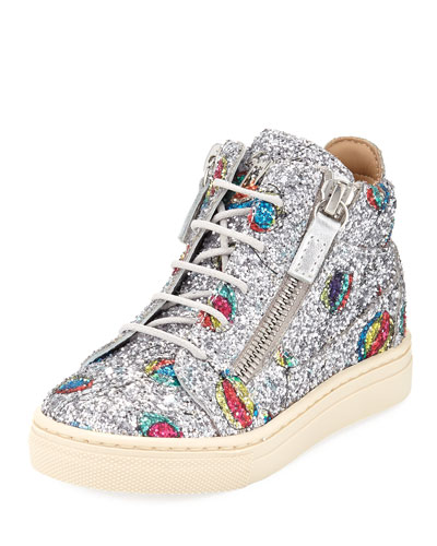 Glittered Balloon Leather High-Top Sneakers, Toddler