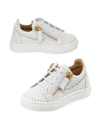 Snake-Embossed Leather Low-Top Sneakers, Toddler
