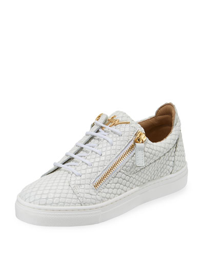 Snake-Embossed Leather Low-Top Sneakers, Toddler/Kids