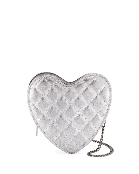 HANNAH BANANA GIRLS' METALLIC QUILTED HEART CROSSBODY BAG