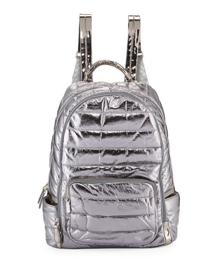 Bari Lynn GIRLS' QUILTED METALLIC FAUX-LEATHER BACKPACK