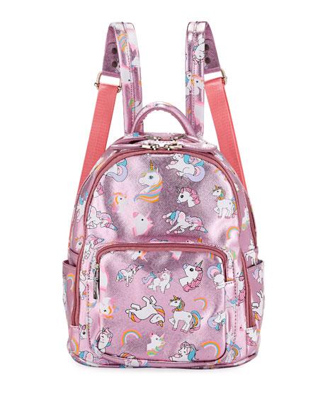 Bari Lynn Girls' Metallic Faux-Leather Unicorn Mini Backpack