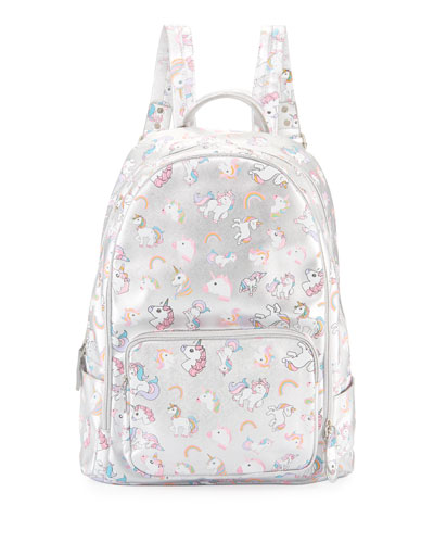 Girls' Metallic Faux-Leather Unicorn Large Backpack