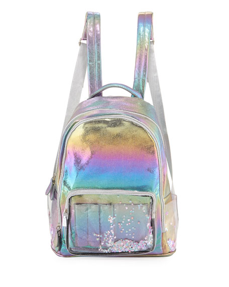 Bari Lynn Galaxy Holographic Backpack w/ Floating Heart
