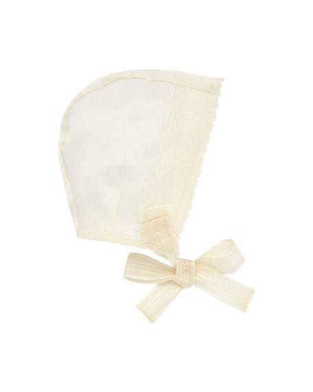 Pili Carrera Silk Organdy Scalloped-Trim Baby Bonnet