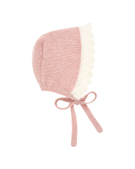 Pili Carrera Two-Tone Knit Baby Bonnet with Mohair