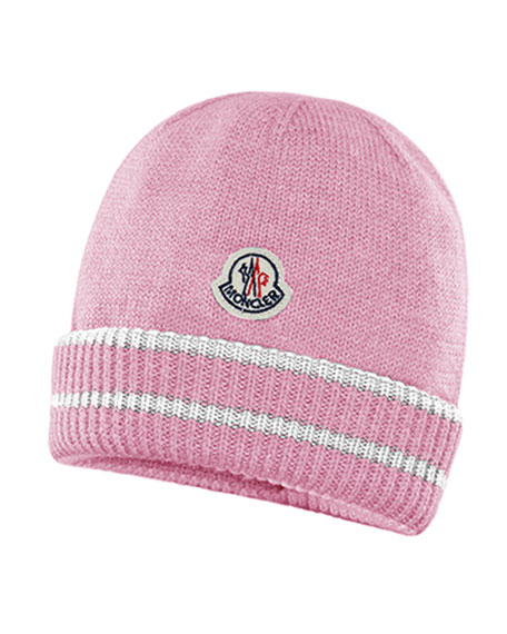 Moncler Kids' Virgin Wool Striped-Cuff Beanie Hat