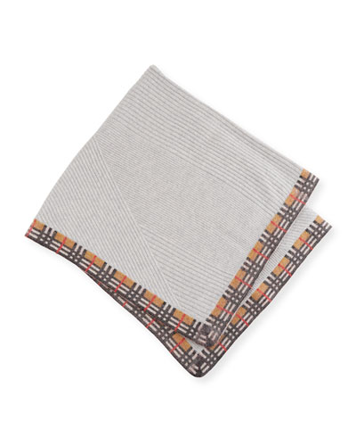 Cathina Check-Trim Knit Baby Blanket