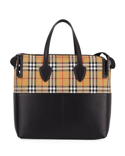 Kingswood Vintage Check & Leather Diaper Bag