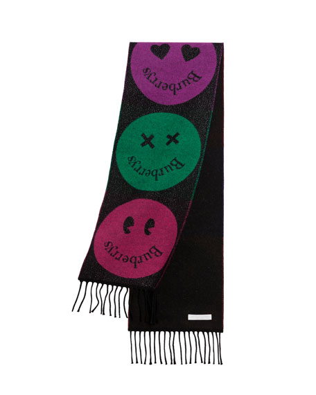 Burberry Kids' Logo Smiley Face Scarf