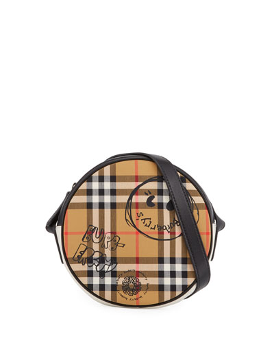 Girls' Round Vintage Check & Cartoon-Print Crossbody Bag
