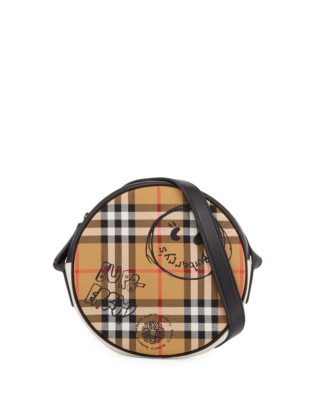 18f218dee8 Burberry Girls' Round Vintage Check & Cartoon-Print Crossbody Bag ...