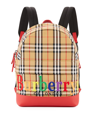 Kids' Nico Check Backpack w/ Rainbow Logo Embroidery