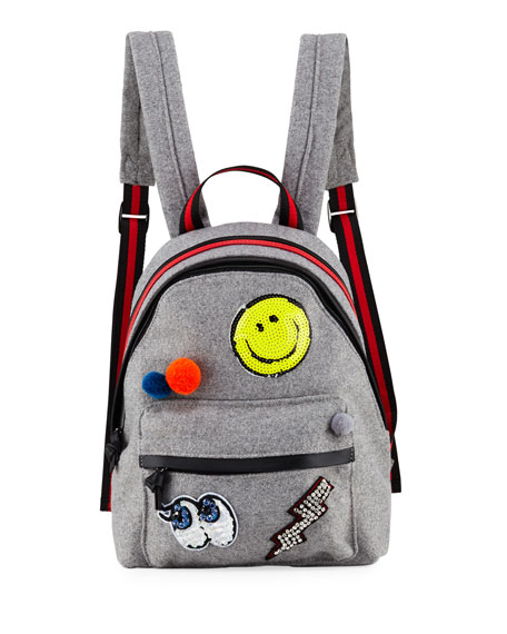 HANNAH BANANA GIRLS' FELT BACKPACK W/ ASSORTED PATCHES